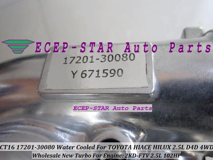 CT16 17201-30080 1720130080 Turbocharger Turbo For Toyota Hiace Hilux 2.5L D4D 4WD 2KD-FTV 102HP (6)