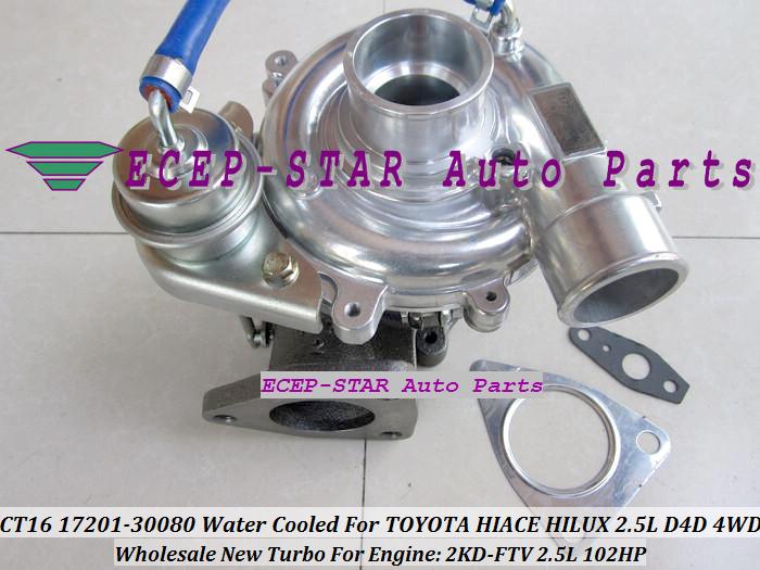 CT16 17201-30080 1720130080 Turbocharger Turbo For Toyota Hiace Hilux 2.5L D4D 4WD 2KD-FTV 102HP