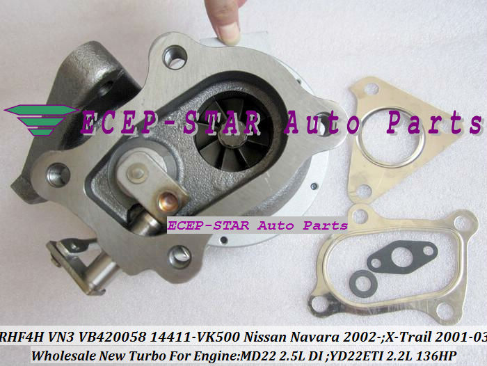 RHF4H VN3 VB420058 14411-VK500 TURBO Turbocharger For NISSAN Navara 2.5DI X-Trail MD22 2.5L YD22ETI 2.2L 136HP (1)