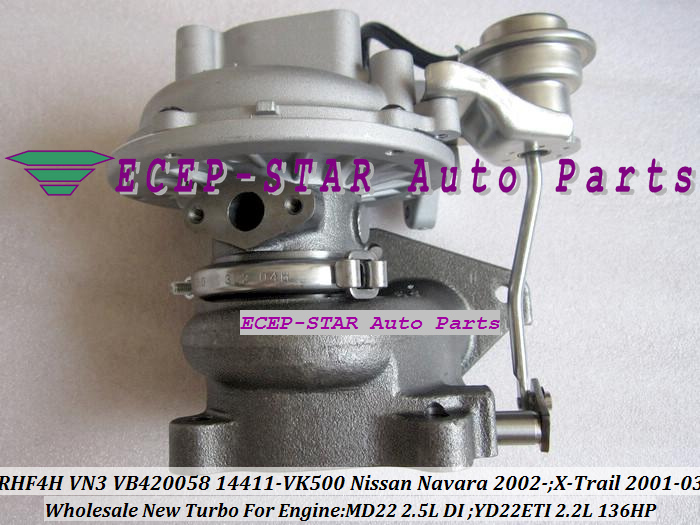 RHF4H VN3 VB420058 14411-VK500 TURBO Turbocharger For NISSAN Navara 2.5DI X-Trail MD22 2.5L YD22ETI 2.2L 136HP (4)