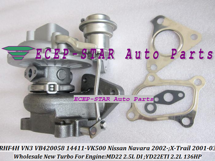 RHF4H VN3 VB420058 14411-VK500 TURBO Turbocharger For NISSAN Navara 2.5DI X-Trail MD22 2.5L YD22ETI 2.2L 136HP (5)