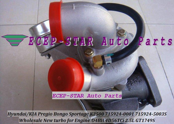 GT1749S 715924-0001 715924-5003S HYUNDAIKIA Pregio Bongo Sportage K2500 D4BH 4D56TCi 2.5L turbocharger (1)