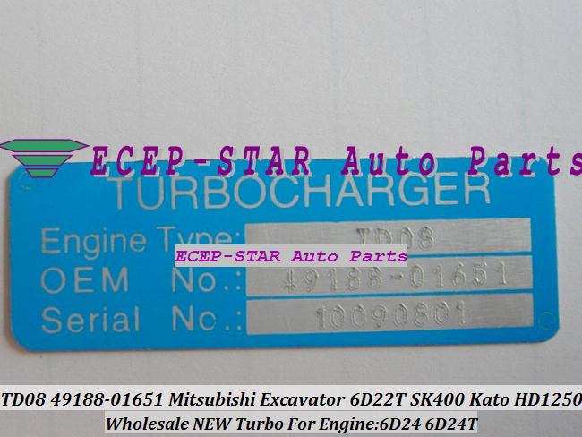 TURBO TD08-26M 49188-01281 49188-01651 49188-01285 ME158162 ME150485 Mitsubishi Excavator SK400 Kato HD1250 Engine 6D24 6D24T