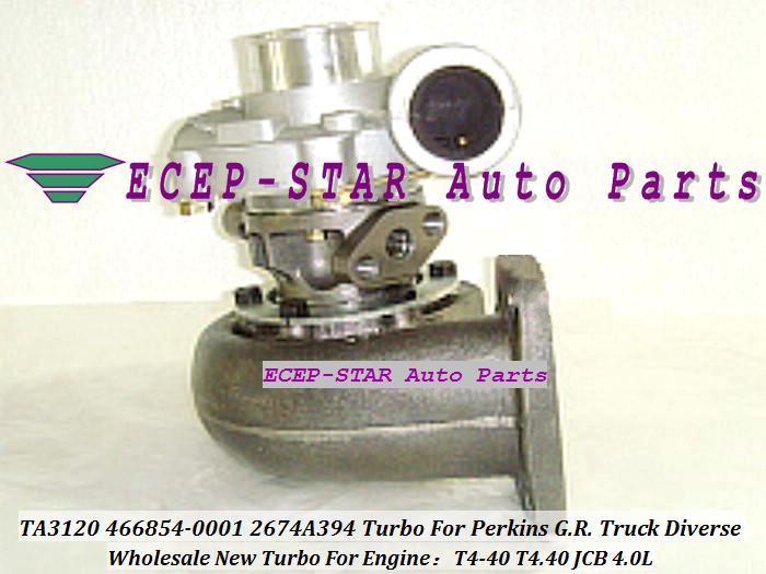 - TA3120 46TA3120 466854-0001 466854-5001S 466854 2674A394 Turbo Turbine Turbocharger For Perkins G.R. Truck 1988-01 Diverse T4-40 T4.40 JCB 4.0L (3)