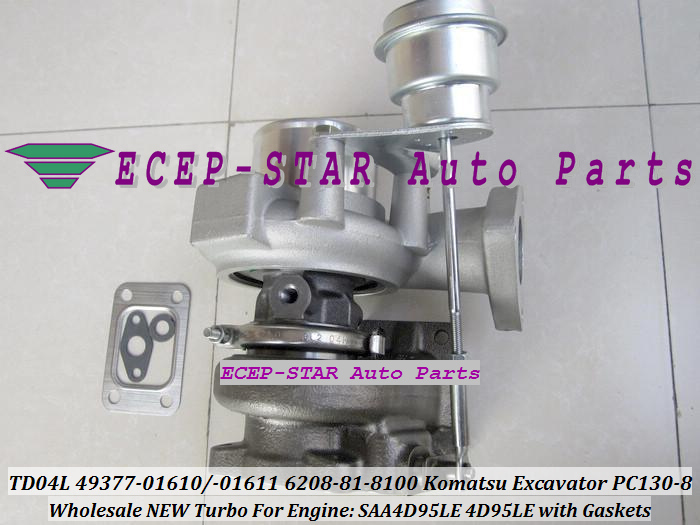 TD04L-10GKRC-5 TD04L 49377-01610 49377-01611 6208-81-8100 Turbo Turbocharger For Komatsu PC130-8 Excavator SAA4D95LE 4D95LE with Gaskets - (3)