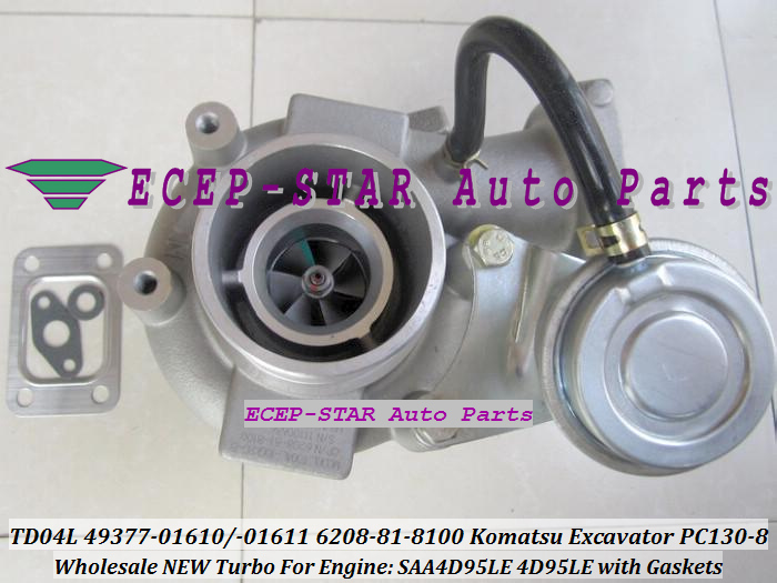 TD04L-10GKRC-5 TD04L 49377-01610 49377-01611 6208-81-8100 Turbo Turbocharger For Komatsu PC130-8 Excavator SAA4D95LE 4D95LE with Gaskets - (1)