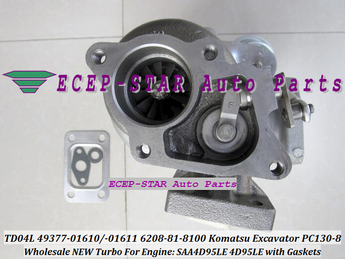 TD04L-10GKRC-5 TD04L 49377-01610 49377-01611 6208-81-8100 Turbo Turbocharger For Komatsu PC130-8 Excavator SAA4D95LE 4D95LE with Gaskets - (2)
