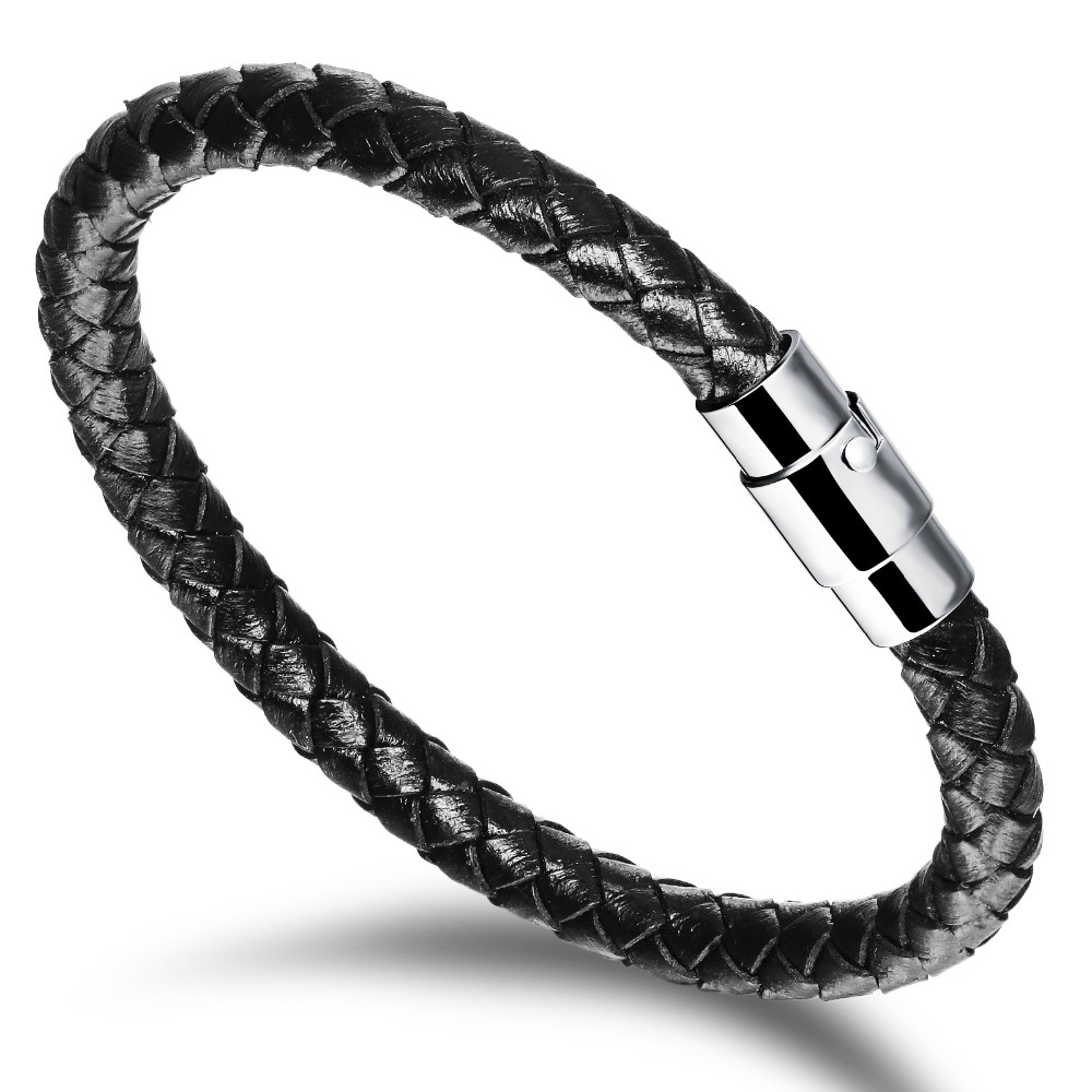 Handmade Men's Leather Braided Bracelet With Stainless Steel Magnet Clasp  Simple Braided Leather Cuff Bracelet Gifts For Him