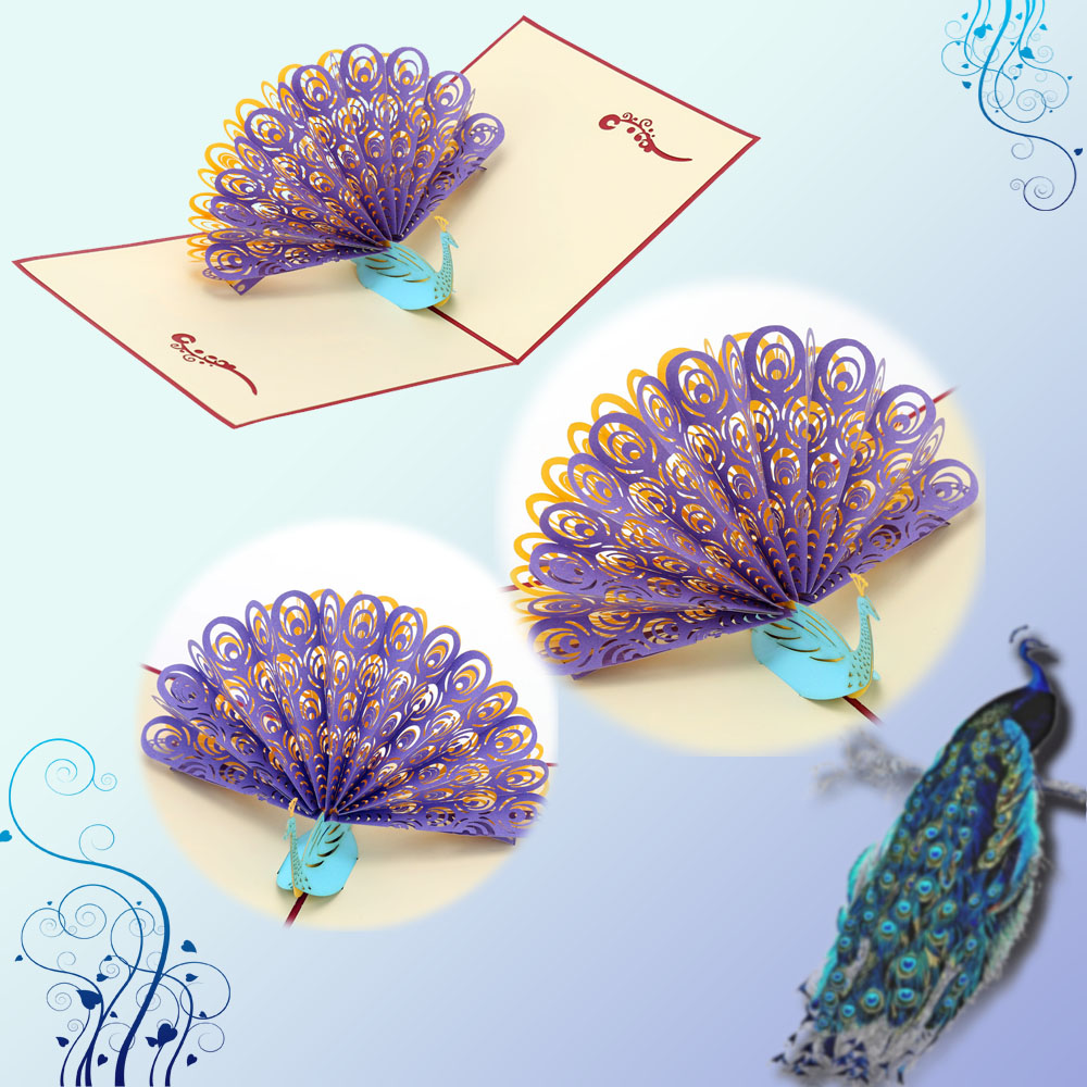 Perfect 3d Pop Up Birthday Wedding Party Card Peacock Design