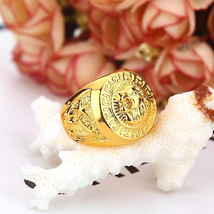 Hip hop Men\'s Rings Jewelry Free Masonic 24k gold Lion Medallion ...