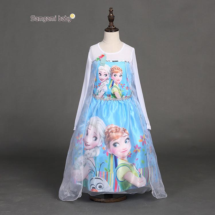 Kids Girls Dresses children Elsa dress costume Princess Anna party dresses baby