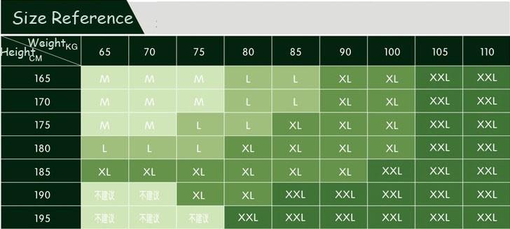 Racing Shirt size chart