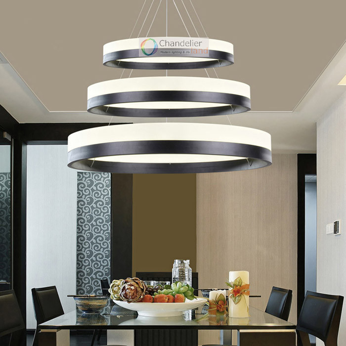 online store 62694 7b703 Two Sizes Modern Contemporary 2 Rings Pendant Light Ceiling Lamp Circles  LED Chandelier Dining Room Indoor Lighting Fixture Glass Chandelier Shades  ...