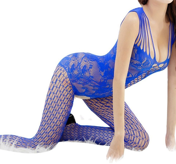 Sexy Woman Geffneter Gabelung Netz Netz-catsuit Stocking