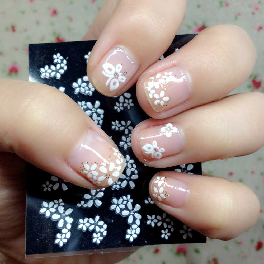 30 Sheets Floral Design 3D Nail Art Stickers Decals Manicure ...