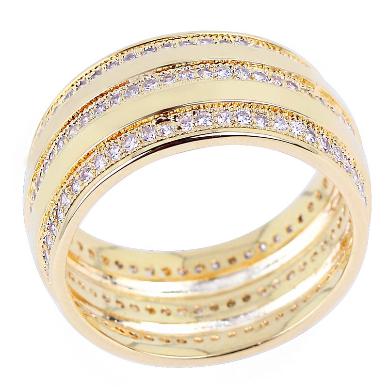 2015 new fashion women elegant wedding rings 3 rolls aaa machine cutting cubic zirconia micro pave channel setting 18k gold ly65925 - Elegant Wedding Rings