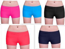 Wholesale Nylon Swim Shorts - Wholesale-Women ladies plain swim shorts bikini swim boy style short brife bottoms