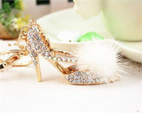 Wholesale Matching Shoes Purses - Wholesale-W Shoe High-heel White Feather Crystal Charm Pendant Bag Purse Keyring New Arrive All-match Fashionable Key Chain