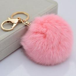Wholesale Hair Bulb - Wholesale-Hot Sales 8CM Super Round Metal Key Chain Faux Rabbit Hair Bulb Fur Plush Pom Poms Ball Bag Car Ornaments Pendant Key Ring