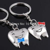 Wholesale Tooth Dentist Key Chains - Wholesale-One Pair Cartoon Teeth Keychain Dentist Decoration Key Chains Stainless Steel Tooth Model Shape Dental Clinic Gift B16