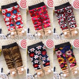Wholesale Leopard Pants For Girls - Wholesale-Free Shipping Baby Gilrs Leggings Winter Children Warm Leggings for Girls Kids Soft Flower Leopard Pants Leggings