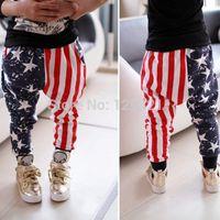 Wholesale Harem Pants Kids Red - Wholesale-Kids Boy Long Harem Pants Stars Striped Cotton Loose Baby Pants Trousers Free shipping