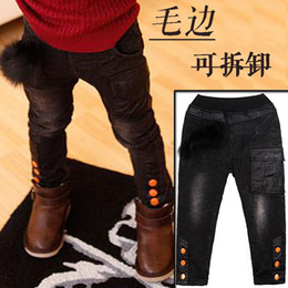 Wholesale Thick Girl One Piece - Wholesale-One Piece 2015 Winter Thick Boys&Girls Jeans Pants Warm Velvet Children Trousers Kid Pants For 6-14 Years Child C20