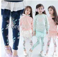 Wholesale Korean Children Floral Leggings - Wholesale-Kids Leggings Korean Children Floral Leggings Girls Pants floral cotton Trousers Girl Legging size 2T-7