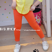 Wholesale Girl Pencils - Wholesale-2015 Hot Candy Color Casual Kids Clothing Girls Jeans Skinny Children Pants Baby Girls Pencil Pants Trousers