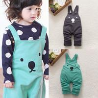 Wholesale Cheap Baby Girl Bibs - Wholesale-Cheap&High Quality Baby Boy Girls Toddler Bib Pants Overalls Bear Print Harem Pants Long Trousers