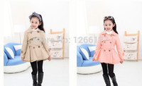 Wholesale Girls Peacoat - Wholesale-Retail 2015 girls trench coat casual outerwear baby girls double-breasted jacket girls peacoat windcheater girls denim coat