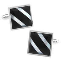 black pearl cufflinks - Square twill line white mother of pearl shell fight black agate stone plating white steel Cufflinks A006