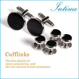 Wholesale Clip Studs - Wholesale-High Quality Metal Buttons Cufflinks and Studs Sets Best Man Silver buttons Cufflinks Wholesale Shirt studs men's accessories