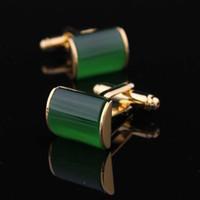 Wholesale Male Gift Set Cufflink - Wholesale-Free shipping Gold jade green cat-eye cufflinks nail sleeve male cuff cufflinks male gift for men(min$10)