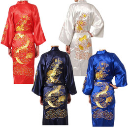 Wholesale Silk Print Robe - Wholesale-Fashion Men's Casual Long Silk Satin Embroidered Dragon Belt Sleepwear Nightgown Pajama Bathrobe Japanese Kimono Robe for man
