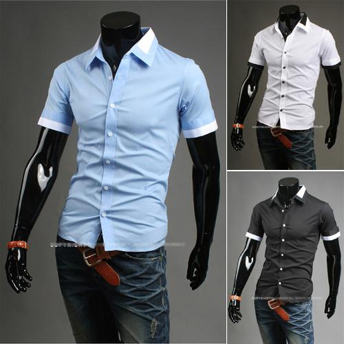 Wholesale-2015 Spring Summer Mens Dress Shirts False Double Collar Design Slim Fit Casual Short Sleeved Shirt 3 Colors Size:M~XXL 9063