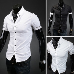 Wholesale Dress Shirts For Mens - Wholesale-2015 Spring Mens Fashion Dress Shirts Plaid Hit Color Fit Short sleeved Shirts for men Free Shipping 5016
