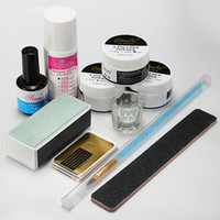 Wholesale Nails Art New Brush - Wholesale-New 1 Set Nail Art Acrylic Powder Pen Brush File Liquid Primer Gel Buf fer Forms Deppen Dish Kits Sets Manicure Tools Hot