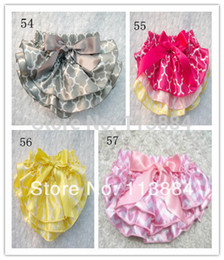 Wholesale Colorful Baby Bloomers - Wholesale-New Style Baby Satin Bloomers Colorful Flowery Print Bloomers Girls' Ruffled Shorts with Ribbon Bow Kids Underwear 3Sizes