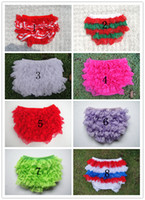 Wholesale Wholesale White Diaper Covers Bloomers - Wholesale-Pretty Infant Toddler Lace Shorts Baby Summer Ruffled Bloomers Little Girls Diaper covers 3Sizes 6pieces lot Free Shipping