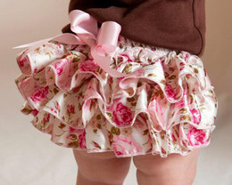 Wholesale Multi Color Petti Skirt - Wholesale-Hot Retail Baby Satin Print Short Infant Toddler 3Layers Skirt Bloomer with Ribbon Bow Newborn Ruffles Petti Diaper Covers 3Size