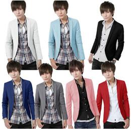 Wholesale Stylish Slim Fit Jackets Men - Wholesale-New Arrival Spring Fashion Candy Color Stylish Slim Fit Men's Suit Jacket Casual Business Dress Blazers