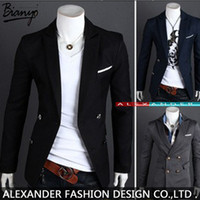 Wholesale double breasted korean suit - Wholesale-2015 New Mens Blazers Gentleman Suit the Double Breasted Suit Korean Men's Casual Suit Jacket Sizes M-XXL Free Shipping