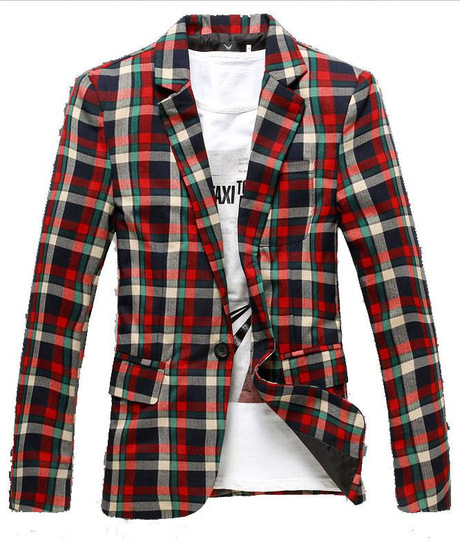 2017 Wholesale Casual Fashion Men'S Plaid Blazer British Check ...