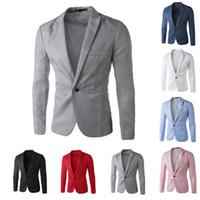 one button fitted blazer toptan satış-Toptan-Rahat Erkek Takım Elbise Kapüşonlu Bir Düğme Erkekler Kırmızı Blazer Açık Havada Slim Fit Ceket Adam Uzun Kollu 8 Şeker Renk Suits Artı Boyutu M-XXXL