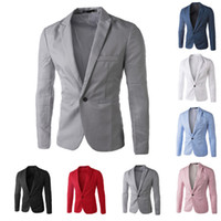 Wholesale Mens White Slim Fit Jackets - Wholesale-Casual Mens Suit Hooded One Button Men Red Blazer Outdoors Slim Fit Jacket Man Long Sleeve 8 Candy Color Suits Plus Size M-XXXL