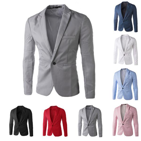 Toptan-Casual Erkek Takım Elbise Kapüşonlu Bir Düğme Erkekler Kırmızı Blazer Açık Havada Slim Fit Ceket Man Uzun Kollu 8 Şeker Renk Artı Boyutu M-XXXL Suits