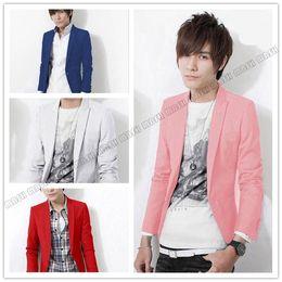 Wholesale Red Fitted Blazer For Men - Wholesale-new pink blazer red suit jacket for men blue back gray Sapphire white men's suit wine red blazers men suit set slim fit