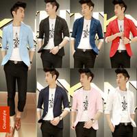 Wholesale Colored Suit Jackets - Wholesale-Summer New Korean Mens Colored Suits Designer Blazers For Men 2015 Slim Fit Jacket Men's Casual Suit Plus Size M-XXXL