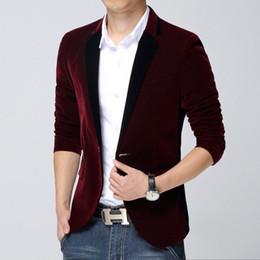 Wholesale Blue Blazer Jacket Mens - Wholesale-Men Velvet Blazer Slim Fit Casual Suit Jacket High Quality Long Sleeve Mens Red Blue Velvet Blazer Jackets Blaser Masculino